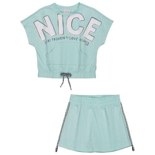 Conjunto Infantil Feminino Blusa e Shorts Saia Verde Água