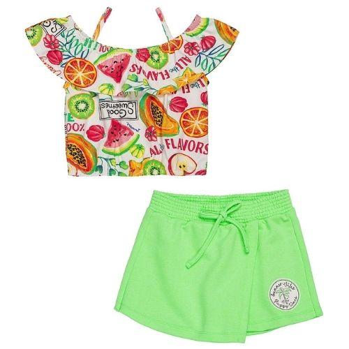 Conjunto Infantil Feminino Blusa Frutinhas com Shorts Saia