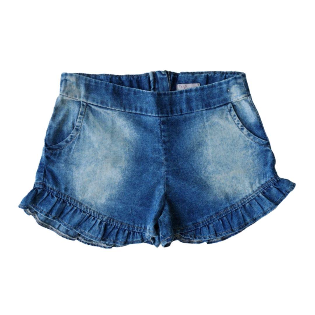 Conjunto Infantil Feminino Blusa Gatinhos e Shorts Jeans