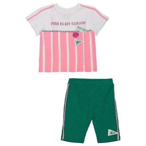 Conjunto Infantil Feminino Blusa Listras Bermuda Ciclista Verde