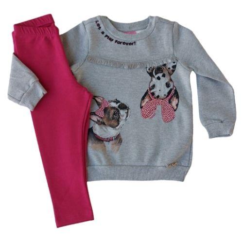 Conjunto Infantil Feminino Blusa Moletom Cachorrinhos com Legging