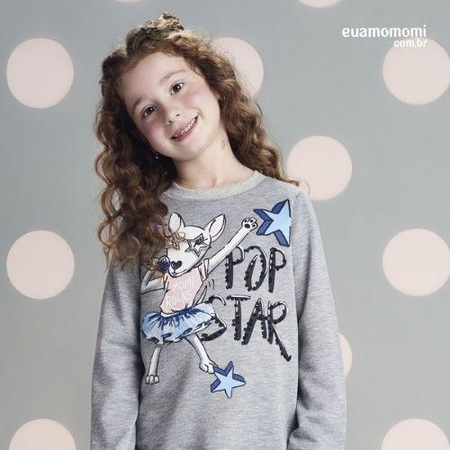 Conjunto Infantil Feminino Blusa Moletom Pop Star com Legging