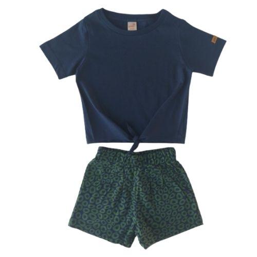 Conjunto Infantil Feminino Blusa Nozinho com Short Green By Missako