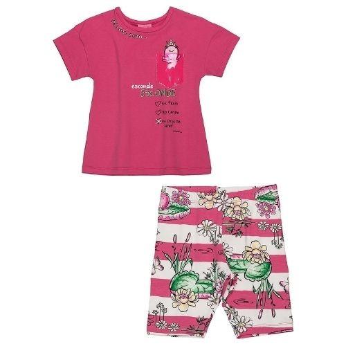 Conjunto Infantil Feminino Blusa Pink com Bermuda Ciclista
