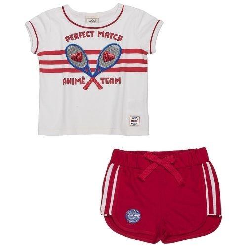Conjunto Infantil Feminino Blusa Tênis com Shorts