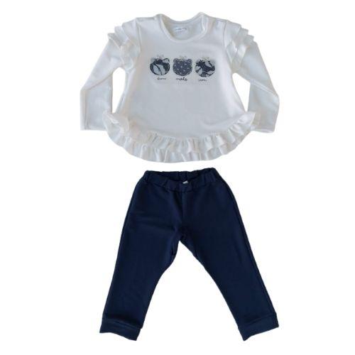 Conjunto Infantil Feminino Blusa Ursinhas Bordadas com Calça