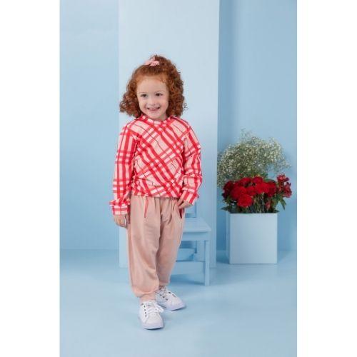 Conjunto Infantil Feminino Blusa Xadrez com Calça