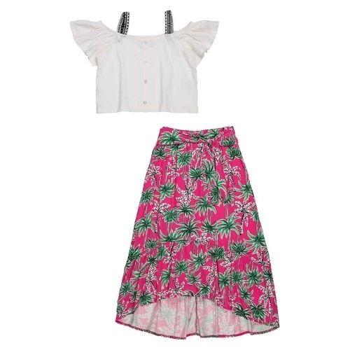Conjunto Infantil Feminino Cropped com Alça Branca e Saia Longa