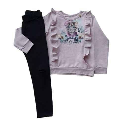 Conjunto Infantil Feminino Moletinho Blusa Babados com Calça