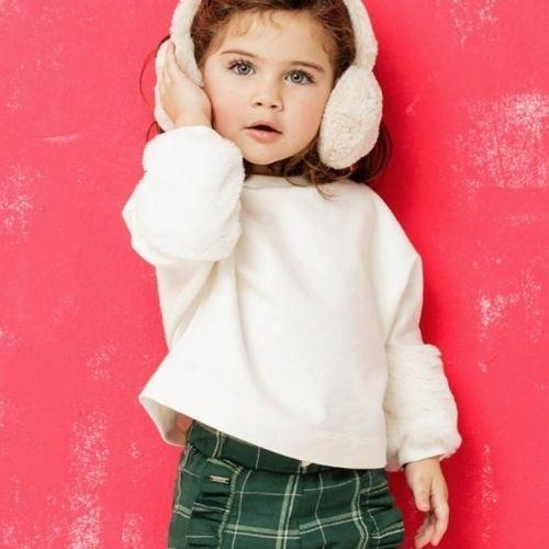 Conjunto Infantil Feminino Moletom Blusa com Pelo e Calça Xadrez  Green By Missako