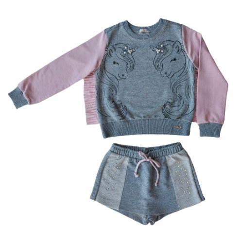 Conjunto Infantil Feminino Moletom Blusa Unicórnios com Short