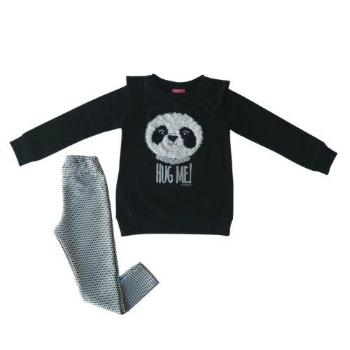 Conjunto Infantil Feminino Moletom Panda Momi
