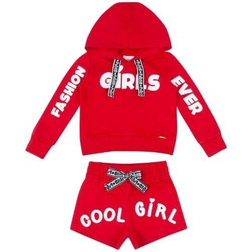 Conjunto Infantil Feminino Moletom Vermelho Blusa e Shorts