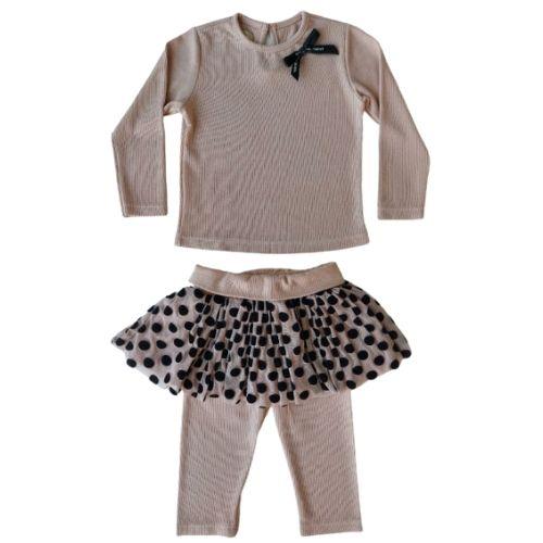Conjunto Infantil Feminino Nude Blusa e Calça Saia