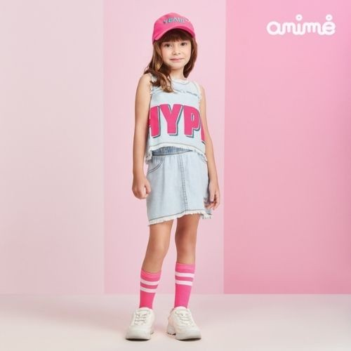 Conjunto Infantil Feminino Regata e Saia Jeans