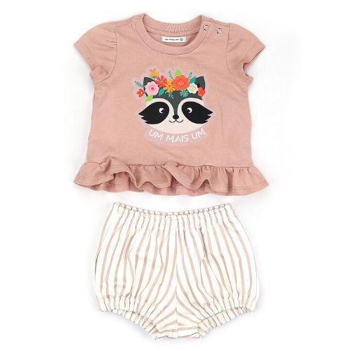 Conjunto Feminino Infantil Guaxinim com Shorts Listrado