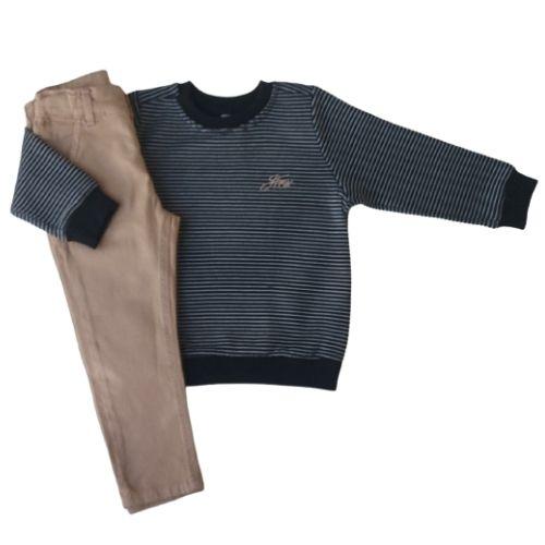 Conjunto Infantil Masculino Blusa Listrada e Calça Johnny Fox