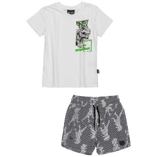 Conjunto Infantil Masculino Camiseta Branca e Short Tactel