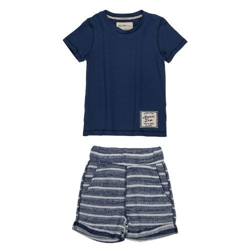 Conjunto Infantil Masculino Camiseta e Shorts Azul Marinho Yuoccie