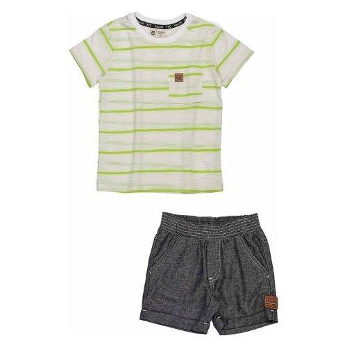 Conjunto Infantil Masculino Camiseta Off com Listras e Short Youccie