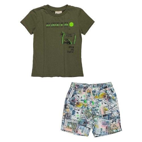 Conjunto Infantil Masculino Camiseta Verde Militar e Short Moletom