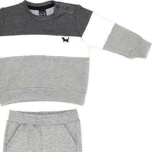 Conjunto Masculino Infantil Moletinho Blusa com Listras e Calça
