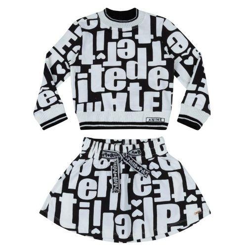 Conjunto Feminino Infantil Moletinho Blusa e Saia Lettering