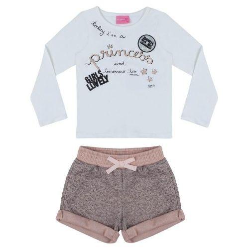 Conjunto Feminino Infantil Princess com Shorts Nude Lurex