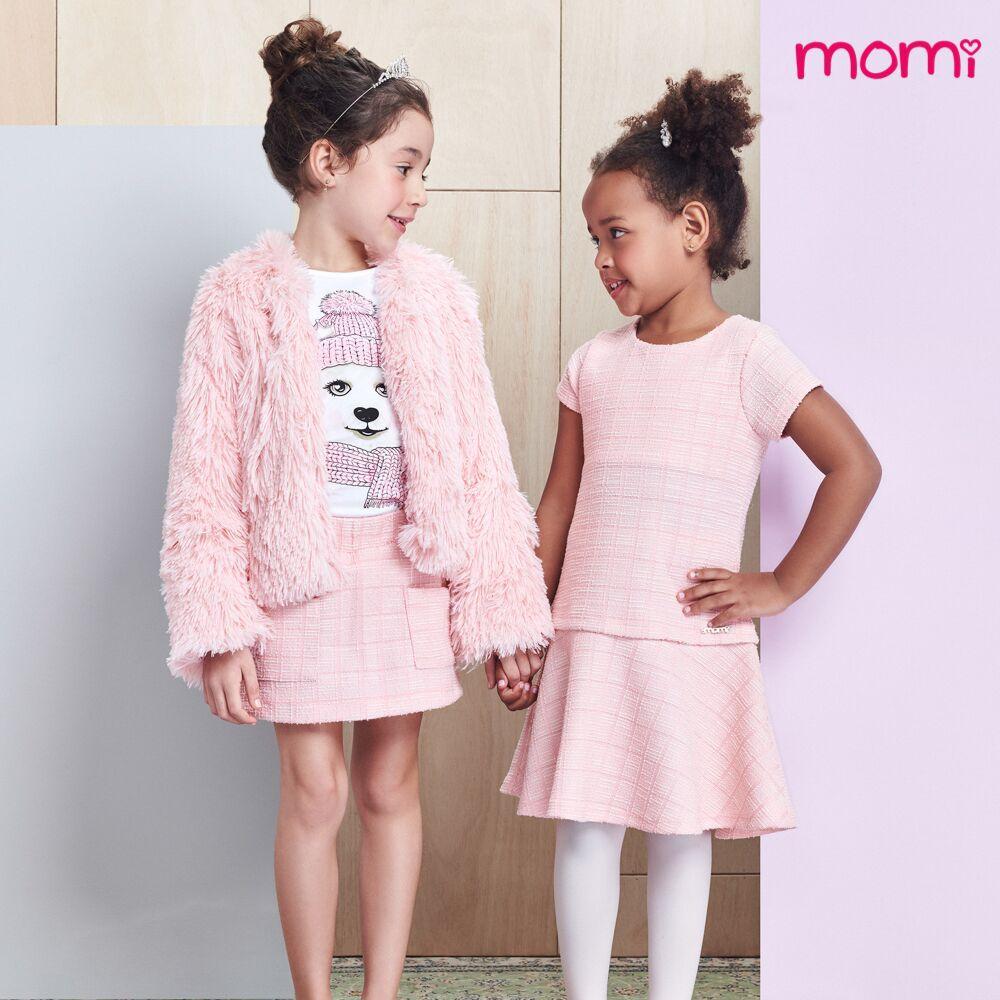 Conjunto Feminino Infantil Ursinha com Shorts Saia Tweed