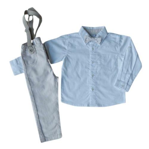 Conjunto Masculino Infantil Camisa com Calça e Suspensório