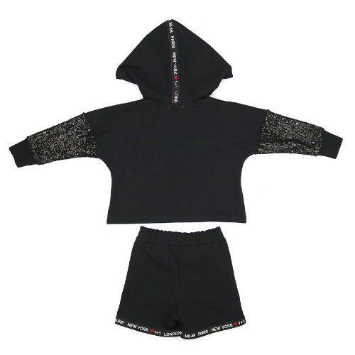 Conjunto Feminino Moletom Infantil Blusa com Paetê e Shorts