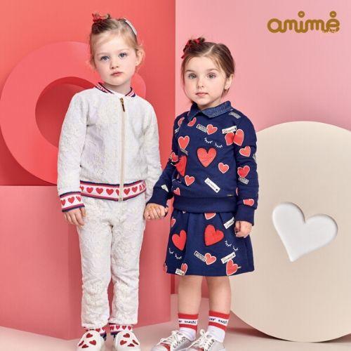 Conjunto Feminino Moletom Infantil Azul Marinho com Corações