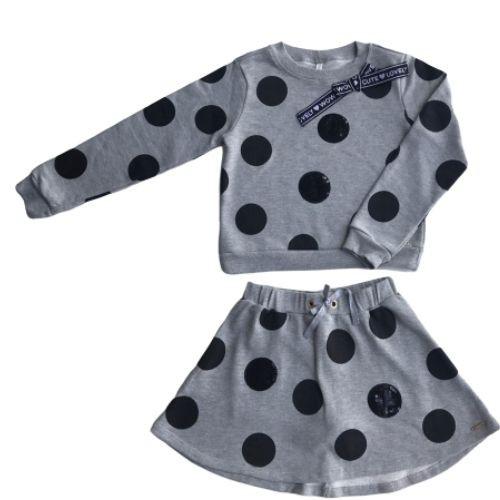 Conjunto Feminino Moletom Infantil Blusa Cinza e Saia