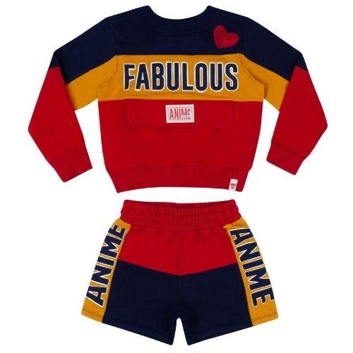 Conjunto Feminino Moletom Infantil Blusa e Shorts Tricolor Fabulous