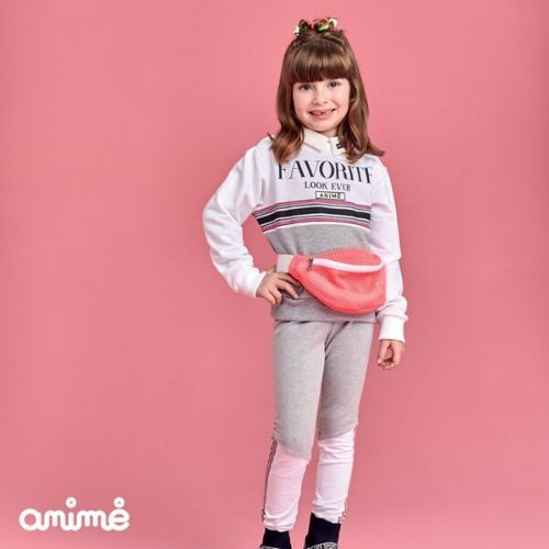 Conjunto Feminino Moletom Infantil Cinza Blusa Favorite e Legging