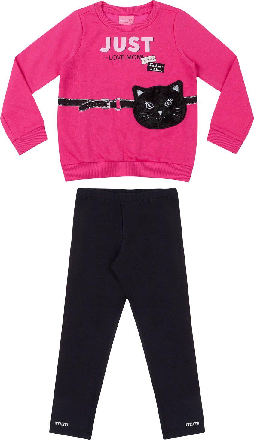 Conjunto Feminino Moletom Infantil Pink Gatinho Preto