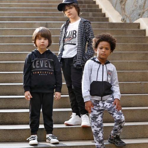 Conjunto Masculino Moletom Infantil Preto Blusa e Calça Level