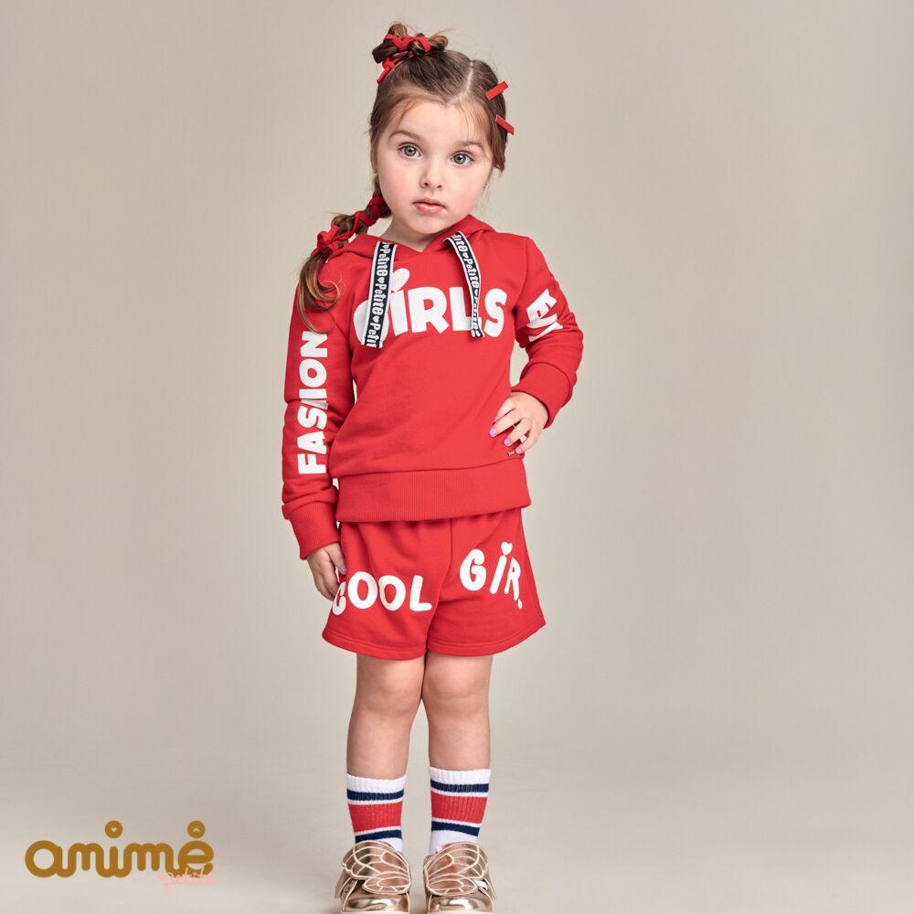 Conjunto Feminino Moletom Infantil Vermelho Blusa e Shorts