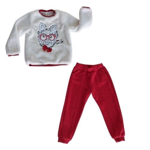 Conjunto Infantil Feminino Blusa Cachorrinho de Óculos e Calça