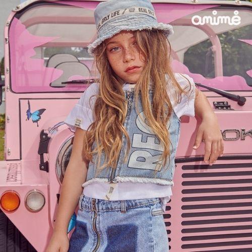 Cropped Feminino Infantil Jeans Rec Animê