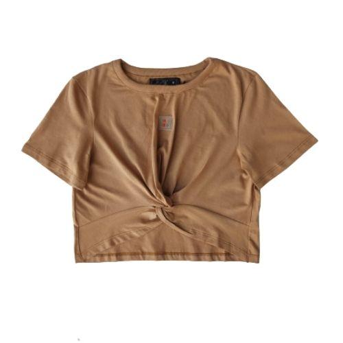 Cropped Infantil Feminino Marrom