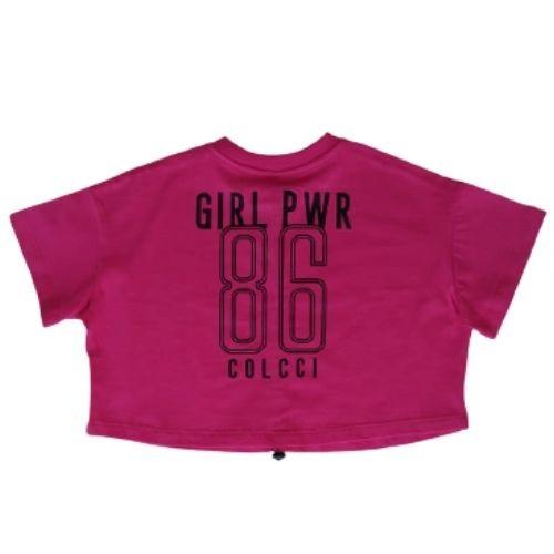 Cropped Infantil Feminino Pink Estampa Costas