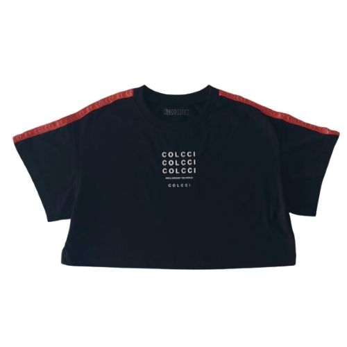 Cropped Infantil Feminino Preto com Logo Emborrachada Colcci Fun