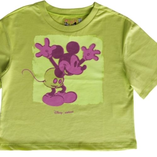 Cropped Infantil Feminino Verde Neon Mickey
