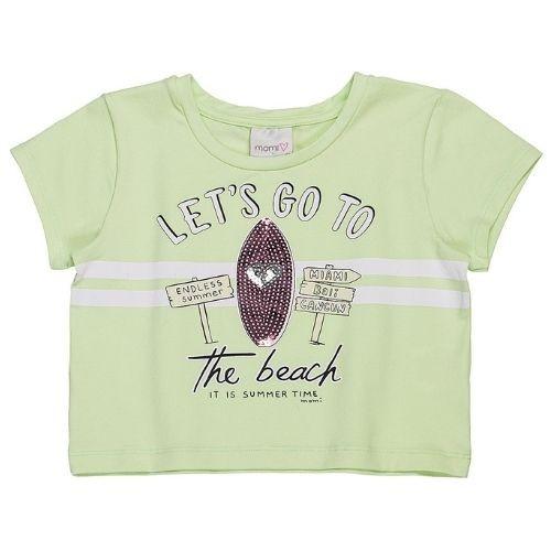 Cropped Infantil Feminino Verde Prancha Paetê