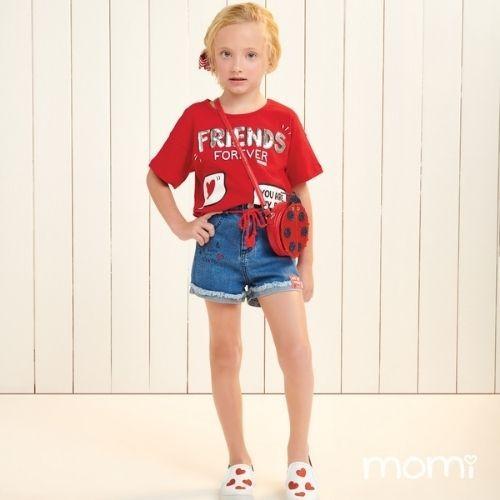 Cropped Infantil Feminino Vermelho com Paetê Prata