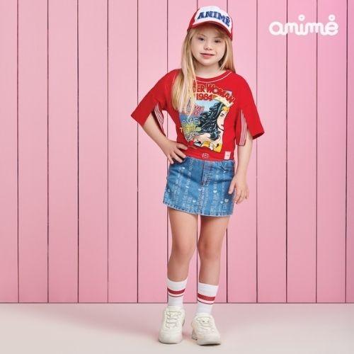 Cropped Infantil Feminino Vermelho Mulher Maravilha