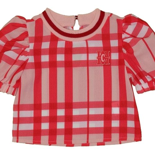 Cropped Infantil Feminino Xadrez