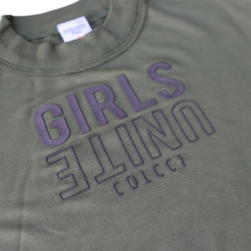 Cropped Feminino Infantil Verde Militar Girls Unite