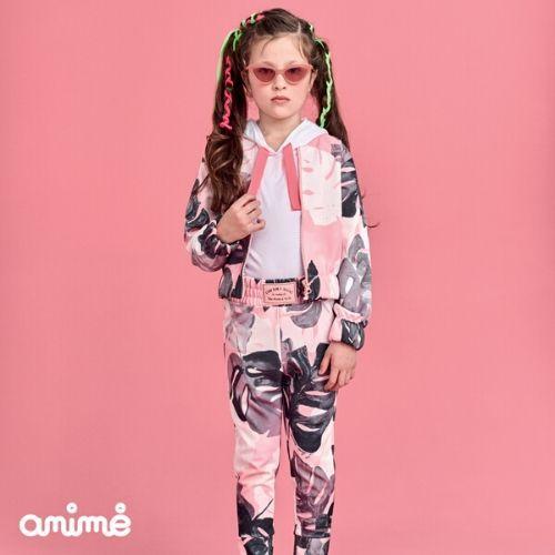 Jaqueta Bomber Feminina Infantil Rosa Folhagens